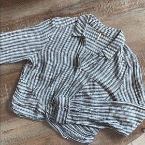 Free people half button down sweater
